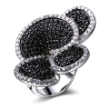 Hot Contrast Jewelry Black White Zircon stones Flower Women Fashion Party Rings Top Quality Birthday gift Ladies Deluxe Ring