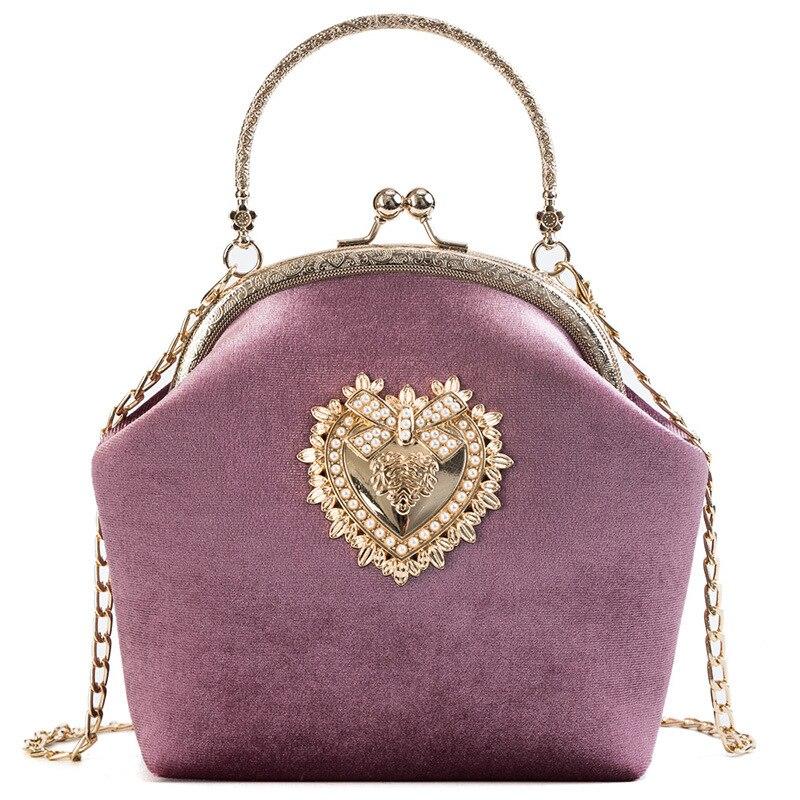 Female Velvet Pearl Handbag Vintage Velour Heart Design Evening Bag Wedding Party Bride Clutch Velour Bag Purse(China)