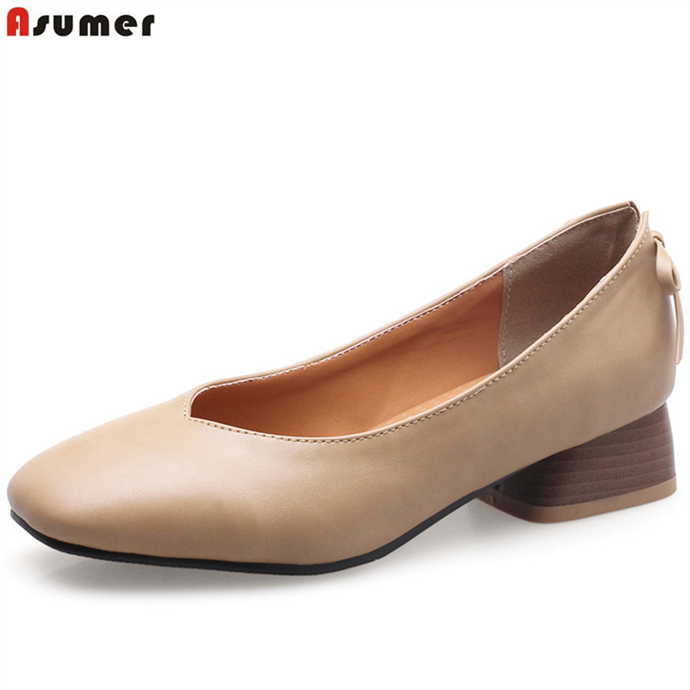 ASUMER black brown square toe shallow casual spring autumn shoes woman butterfly knot square heel women low heels shoes asumer black white fashion spring autumn shoes woman square toe casual dress shoes square heel women med heels shoes size 46