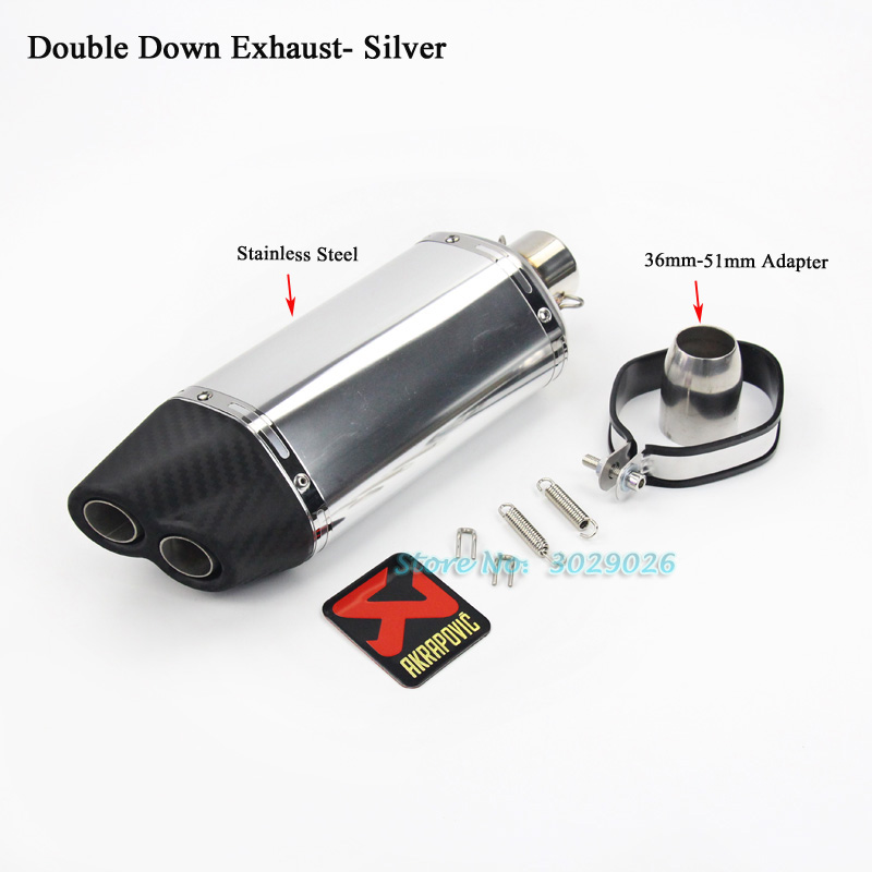 51mm length 390mm Universal Double Down 2 Holes Exhaust Muffler Pipe For Z250 Z300 ER6N R6 R15 Most Motorcycle Escape