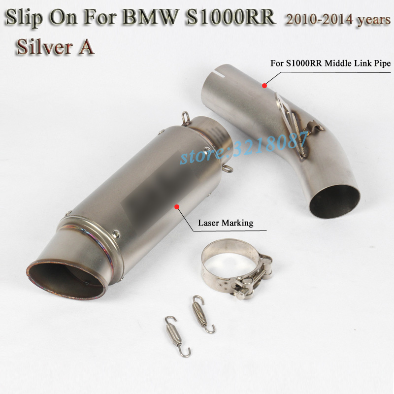 Motorcycle Full Exhaust System Pipe Escape Modified Carbon Fblier with Laser Marking Sticker Slip On For BMW S1000RR 2010-2014