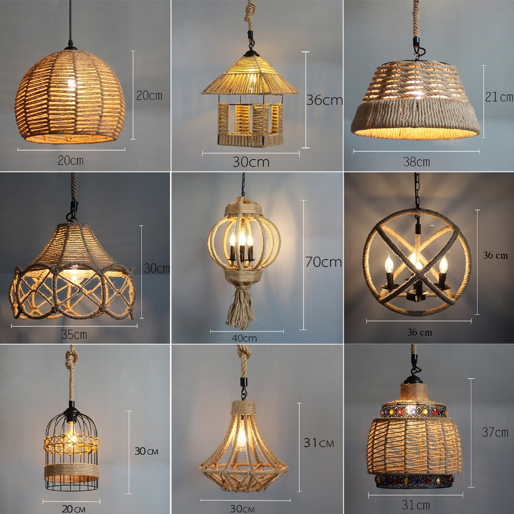 Lighting Fixtures Vintage Pendant Lights Cord Lighting Fixtures For Bar Home Lighting Creative Antique Led Pendant Lamp Made Of Iron Rope E27