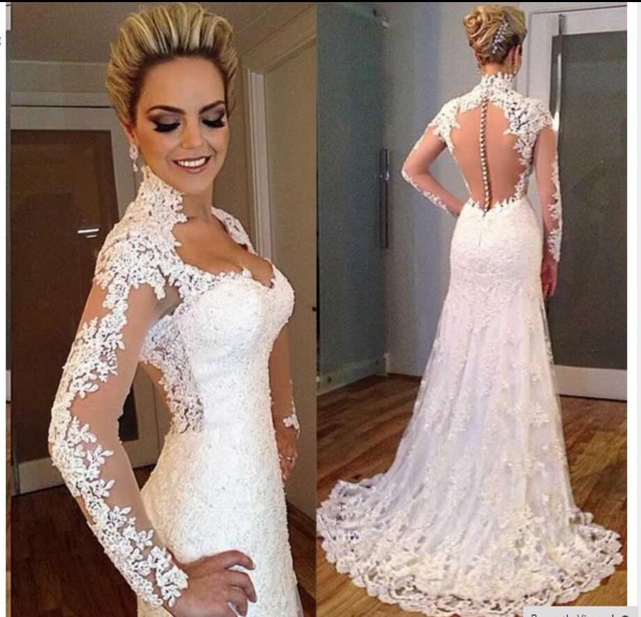 Long sleeves vintage lace mermaid wedding dresses 2017 for Long sleeve beaded wedding dress