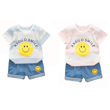 Baby Boy Girls Summer Clothes Set Toddler Smiling Face Print  T-shirt Tops Blue Denim Shorts Outfits 2PCS Kids Outfits 1-4Y 2018 newborn toddler kids baby girls 3d rose floral off shoulder t shirt tops denim raw hem hot shorts outfits clothes 2pcs set