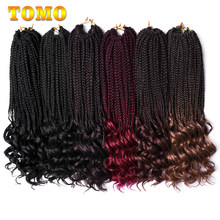 TOMO 18 Inch Crochet Hair Box Braids Curly Ends Ombre Kanekalon Synthetic Hair for Braid 22 Strands Braiding Hair Extensions(China)
