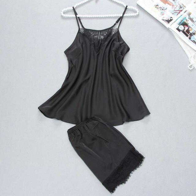Women's Short Lace Black Pajamas