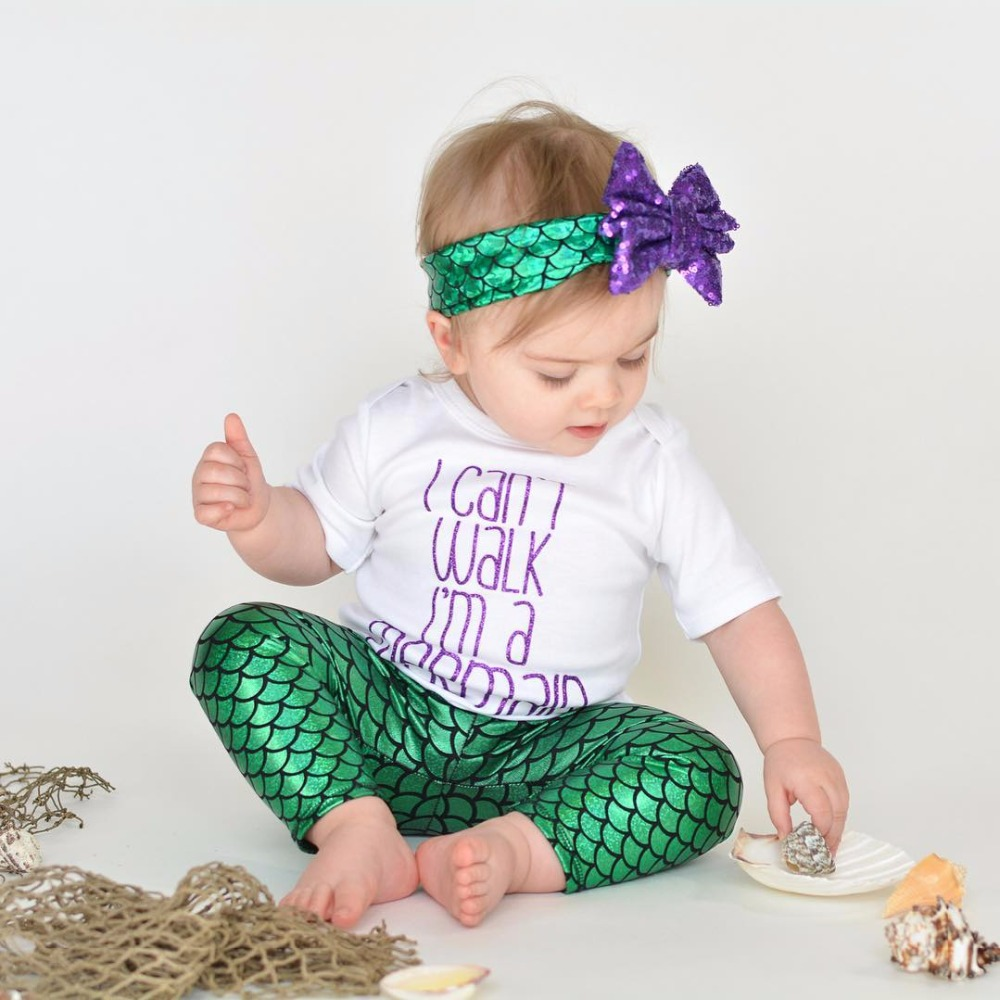 Fashion 2018 Summer Baby Girl Clothes Mermaid Suits geometric print pullover+Trousers+Headband 3PCS Newborn Girls Clothing Sets