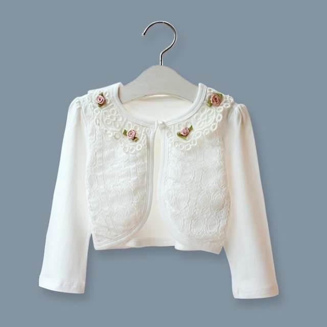 5d0551fff Online Shop Baby girls lace flower long short sleeve knitted bolero ...