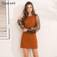 Gaovot 2018 Spring Autumn Women Dresses Long Sleeve Knitted Embroidery Mesh Patchwork Straight Mini Dress Elegant