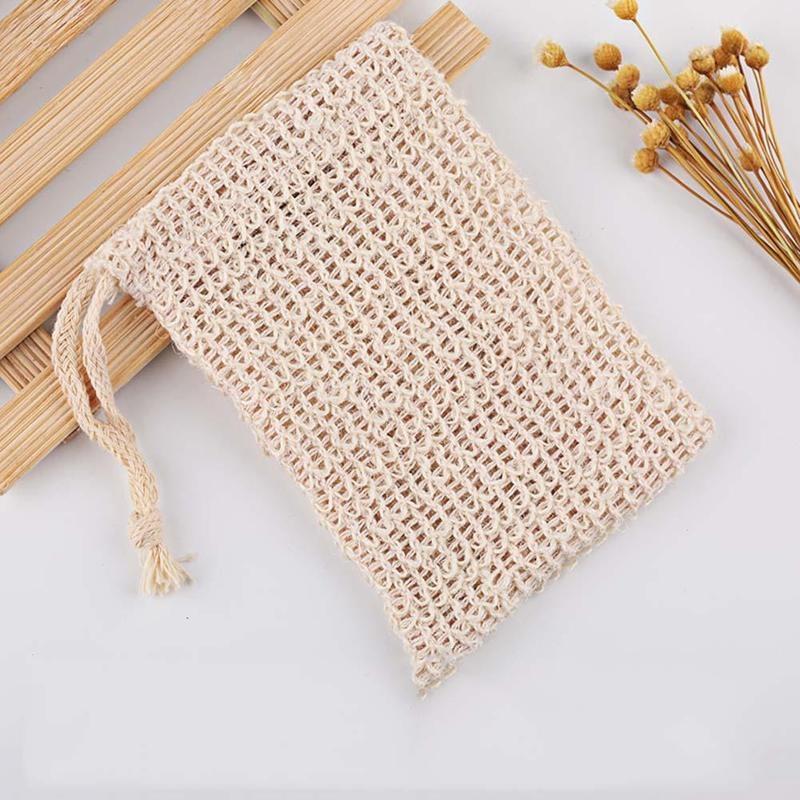 Natural Exfoliating Soap Bags Handmade Sisalnatural Sisal Saver Pouch Holder Bath Soap Bag Drawstring Pocket