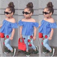 Boutique Kids Clothing Baby Girl Off Shoulder Tops Denim Floral Printed Jeans Outfits Summer 2018 Toddler
