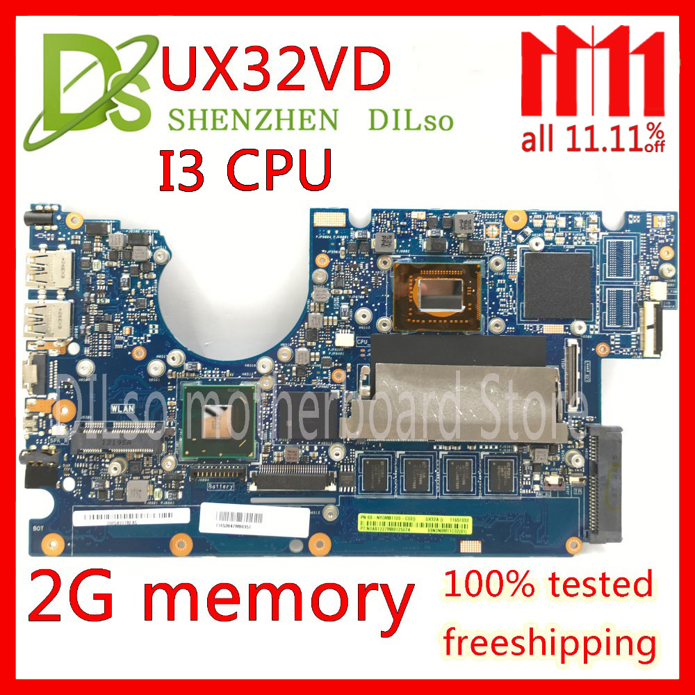 KEFU UX32VD motherboard for ASUS UX32V UX32VD UX32A laptop motherboard I3 CPU GM 2GB RAM original Test mainboard ux32a motherboard i3 cpu rev 2 1 for asus ux32a ux32vd laptop motherboard ux32a mainboard ux32a motherboard test 100% ok