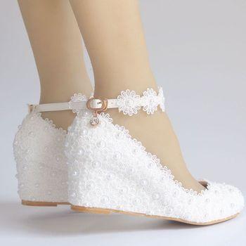 5CM wedges middle heel lace shoes woman bridal ankle straps white lace pearls wedding shoes NQ171 bride girls ladies party shoe 1