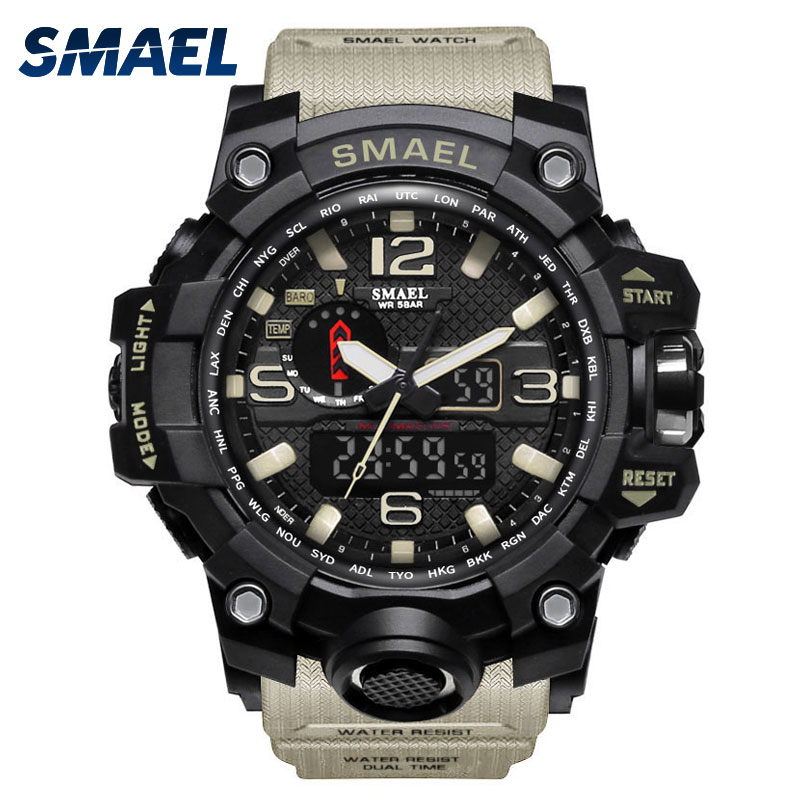 SMAEL Men Watch for Sport LED Display Waterproof Quartz Electronic Watches Dual Display Fashion Uhren 1545