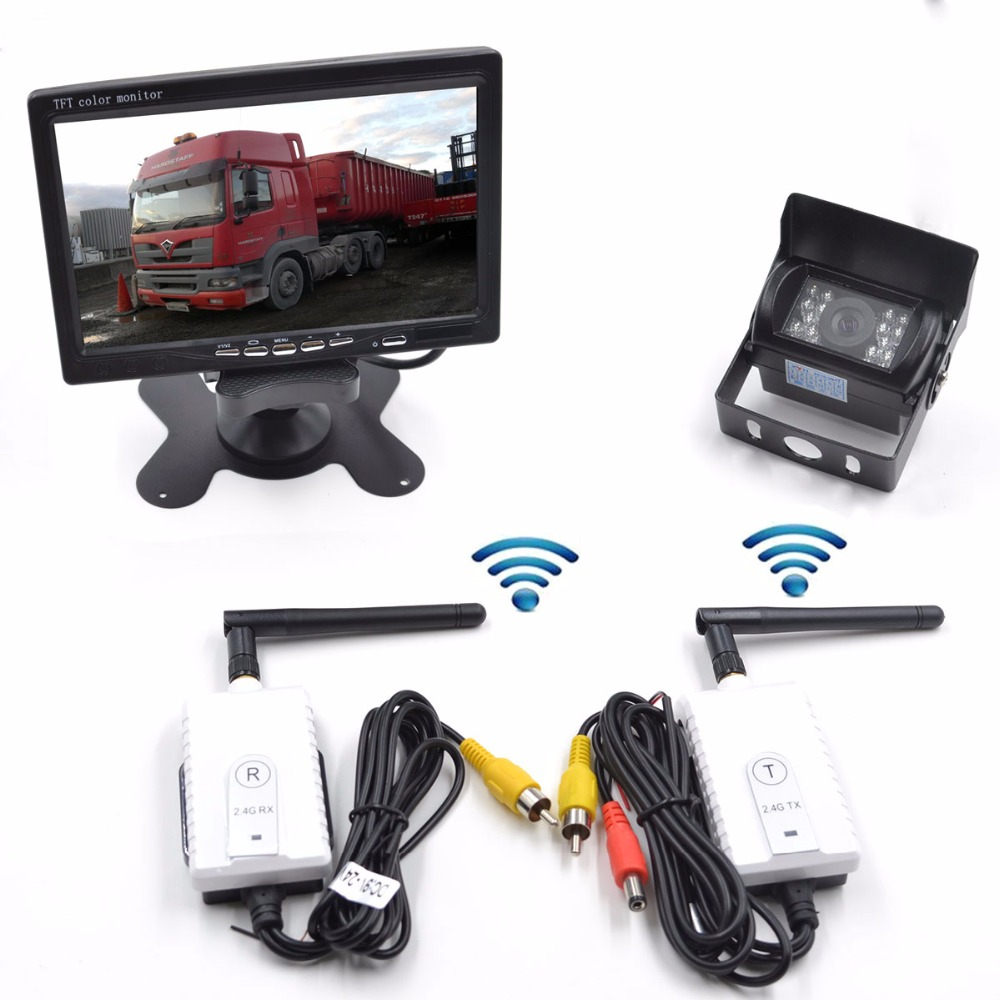 Wireless Vehicle Backup Cameras Parking Assistance System Ir Night Vision Waterproof Rear View Camera + 7