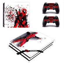 Diseño de Deadpool, etiqueta de protección de piel de vinilo para la consola Sony Playstation 4 Pro + 2 uds., controlador, Protector adhesivo de recubrimiento para PS4 Pro