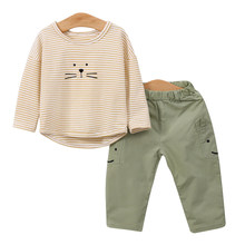 YiErYing Baby Clothes Newborn Clothing Set Cotton Suits Shirt+Pants Cartoon printing Stripe Infant