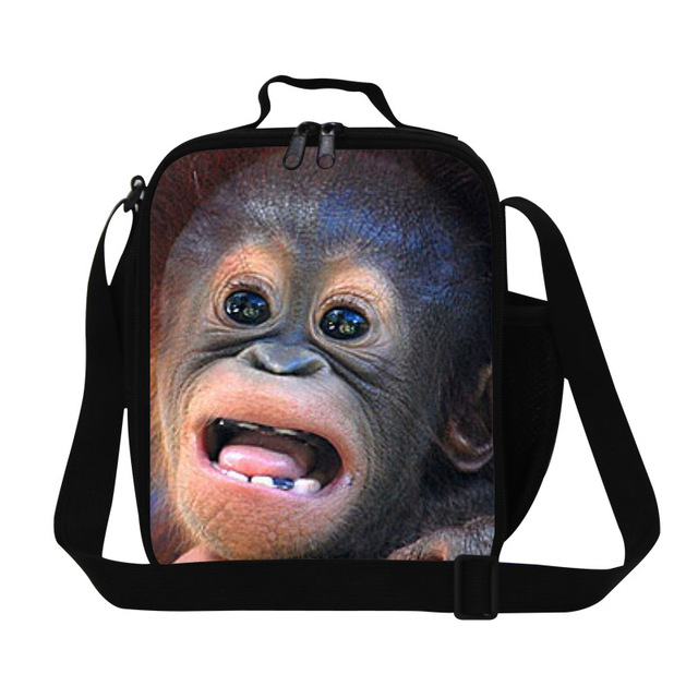Dispalang 3D ape printed lunch cooler bags for children mens insulated picnic bag adults work food bag students thermal meal bag
