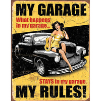 My Garage My Rules Metal Sign Bar Wall Decoration Tin Sign Vintage Metal Poster Home Decor Painting Plaques 1001(676) 30x20cm