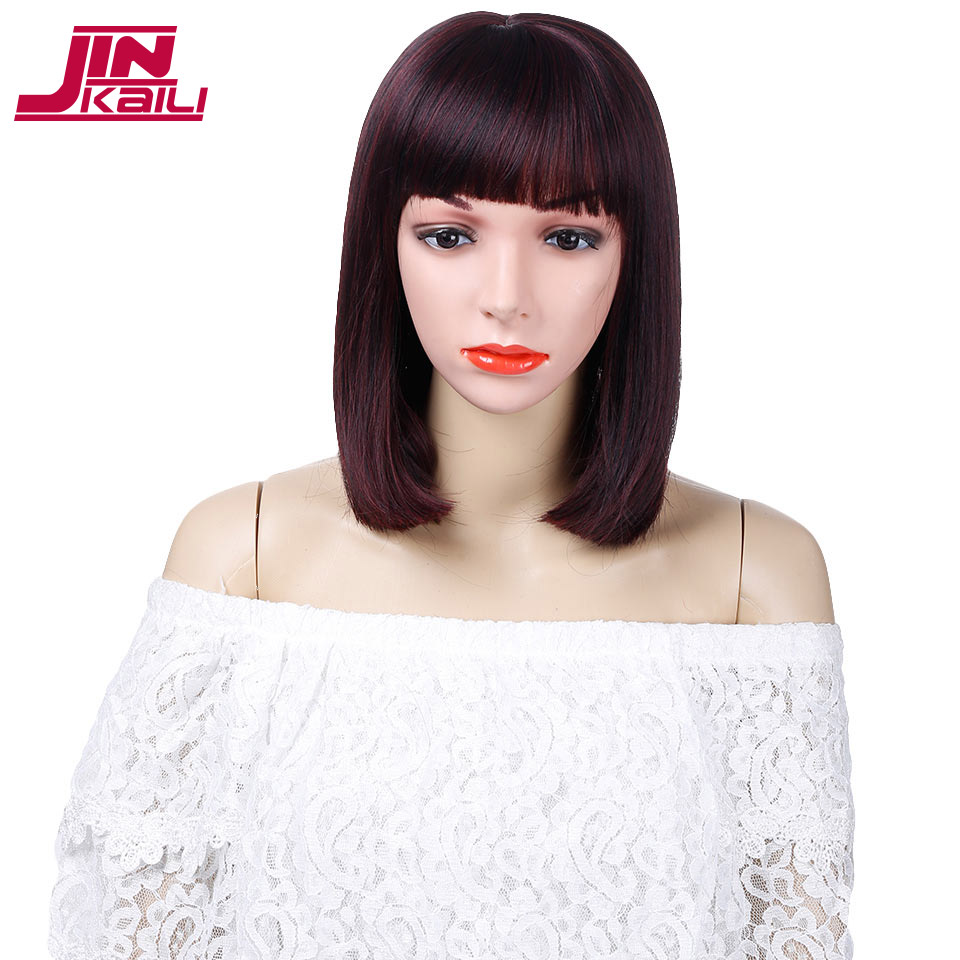 JINKAILI WIG Short Straight Black Bob Wigs for Women Heat Resistant Synthetic Black Hair Wigs Cosplay Wig