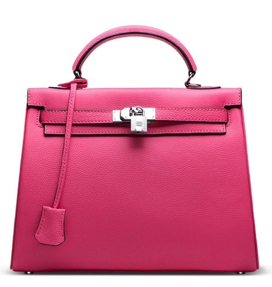 1f1b01ed3bcd9b Ainifeel Women's Padlock Genuine Leather Should Bag Top Handle Handbag  Office Bag Hobo Bag Purse Shoulder Bag-in Shoulder Bags from Luggage & Bags  on ...