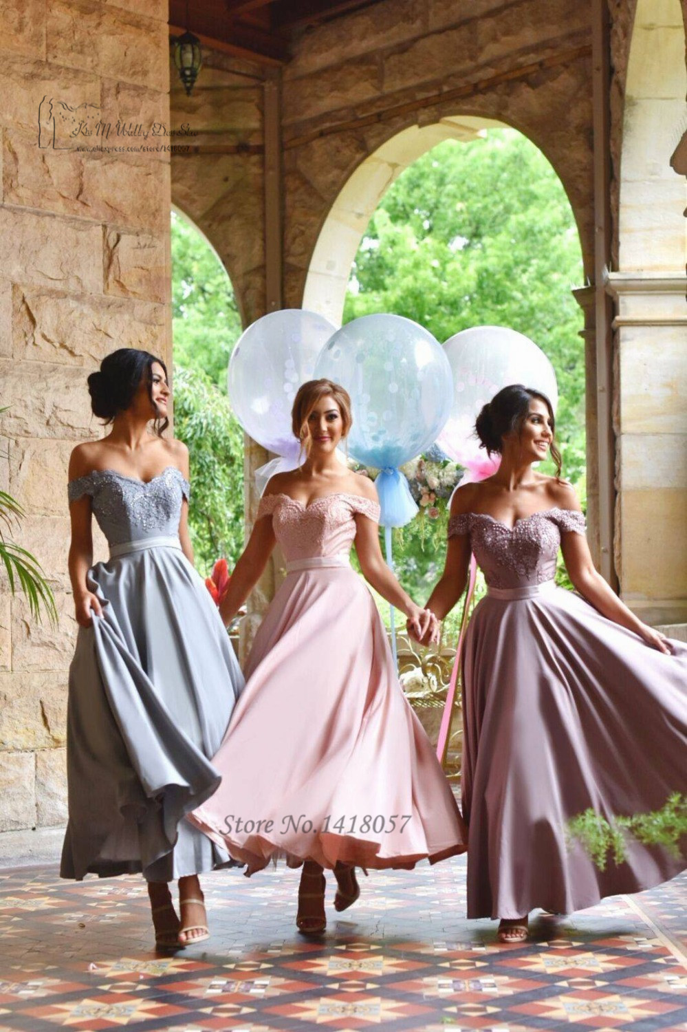 Pink purple blue vintage tea length bridesmaid dresses lace off pink purple blue vintage tea length bridesmaid dresses lace off shoulder wedding party dress imported gown vestido para madrinha in bridesmaid dresses from ombrellifo Image collections