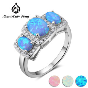 Luxury Cubic Zirconia & Oval Blue Opal Stone Women Rings Real Pure 925 Sterling Silver Ring Gift Ideas For Mom (Lam Hub Fong)(China)