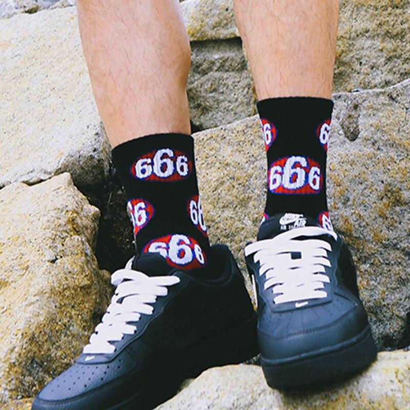 men funky   socks   666 character pattern hip hop   socks   happy crazy cotton   socks   women skateboard streetwear harajuku teen   socks