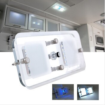 300 Lumenów 12/24 V DC Cool White LED Crystal Roof Ceiling Light Caravan / RV / Car / Motorhome / Marine