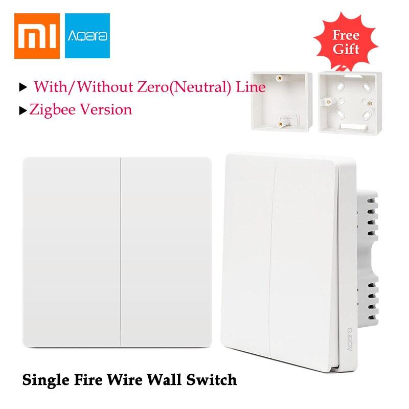 Xiaomi Aqara interrupteur mural contrôle de la lumière fil d'incendie unique ZigBee connexion sans fil travail sans ligne zéro APP maison intelligente à distance