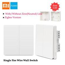 Xiaomi Aqara настенный выключатель света управление один огонь провода ZigBee беспроводное соединение работает без нулевой линии приложение дистанционное управление Умный дом