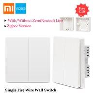 Xiaomi Aqara Wall Switch Light Control Single Fire Wire ZigBee Wireless Connection Work Without Zero Line APP Remote Smart Home