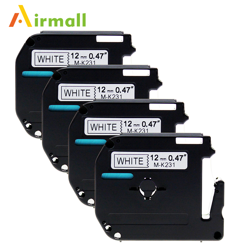 4 Pack Compatible Brother P-touch M Tape M231 MK231 Black on White Label Tape for Brother P Touch Label Maker PT-90 PT-M95