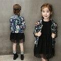 Baby Girl Denim chaqueta para niñas niños de Manga Larga de invierno de Mezclilla capa de la muchacha Chaquetas de Mezclilla de Impresión Niños chaqueta Cardigan niña grande