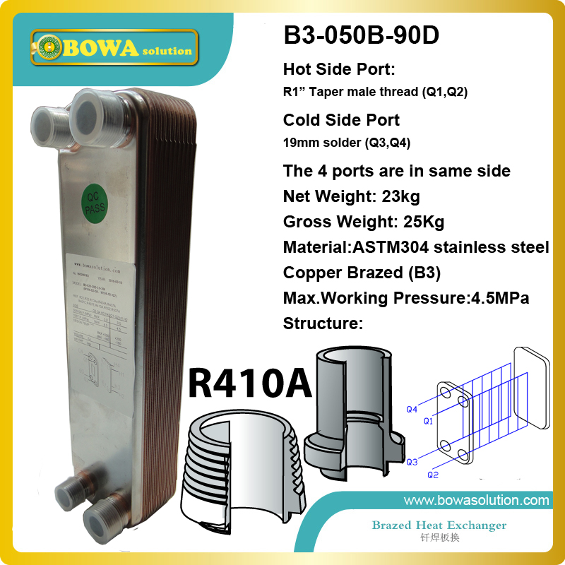 90plates, 45bar working pressure, 19mm solder and 1 thread, copper brazed plate heat exchanger for hot water 11kw heating capacity r410a to water and 4 5mpa working pressure plate heat exchanger is used in r410a heat pump air conditioner