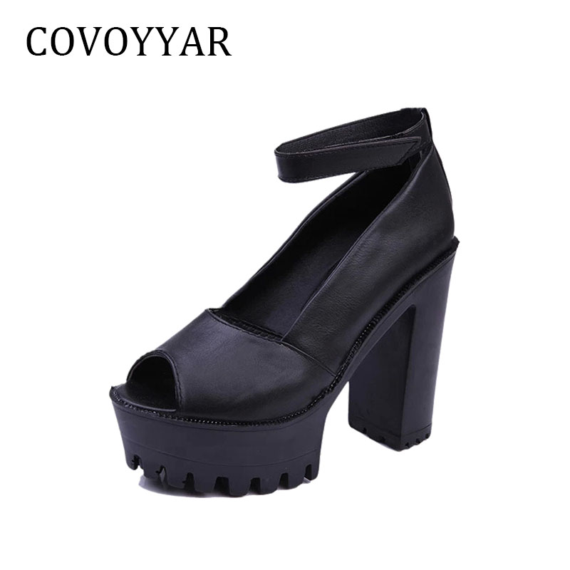 db1530ed3fe COVOYYAR Ankle Strap Women Sandals Thick High Heel Platform Open Toe Pumps  Summer Women Shoes Sexy White  Black WSS21