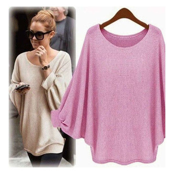 2018 New sweater Women candy color Oversized Batwing Knitted Pullover Loose Sweater Knitted Tops high quality clothing 10
