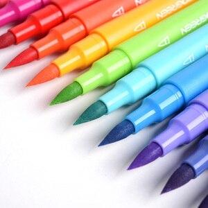 Image 4 - KACO, bolígrafos de acuarela de doble punta, pincel no tóxico y bolígrafo de escritura para dibujar, juego de regalo, 100 colores con bolso