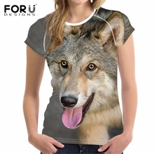FORUDESIGNS 3D Wolf Print Women T-Shirt Crop Tops T Shirts Woman Short-sleeved Cool Tshirt For Girls Roupa Feminina lady Kawaii