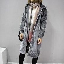 Autumn Winter Women Long Coats Solid Coat Cardigan Female Velvet Casual Jacket Overcoat