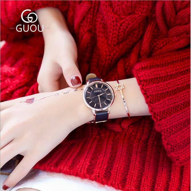 GUOU Watch Fashion Leather Women's Watches Top Luxury Ladies Watch Exquisite Retro Quartz Clock relogio feminino reloj mujer guou luxury rose gold watch women watches fashion women s watches top brand ladies watch clock saat reloj mujer relogio feminino
