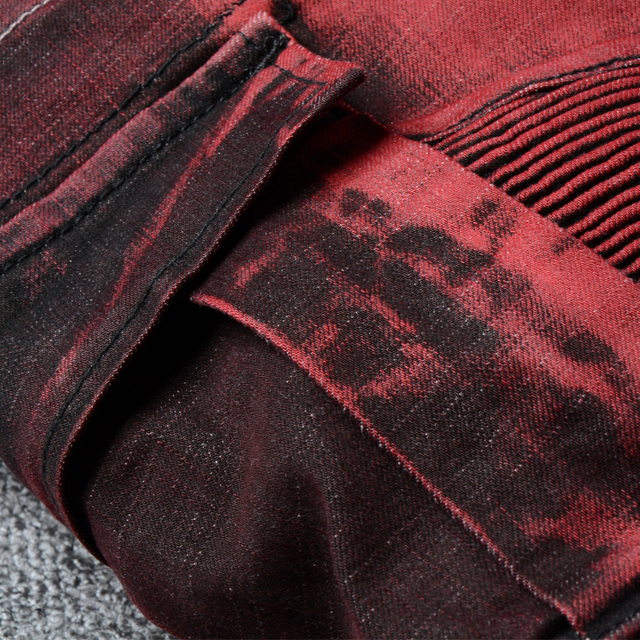 Fashion Streetwear Men Jeans Red Color Slim Fit Ripped Jeans Men Spliced Designer Big Pocket Cargo Pants Size 28-42 Biker Jeans