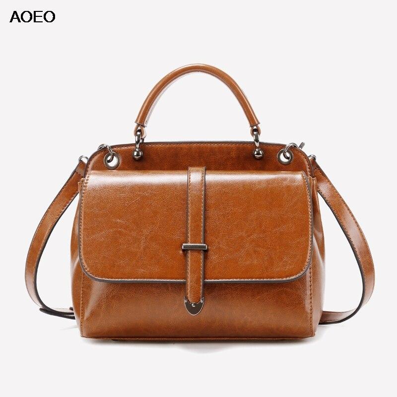 AOEO Öl Wachs Split Leder Luxus Handtaschen Frauen Schulter Taschen Designer Damen Vintage Magnet Schnalle Geldbörse Weibliche Messenger Tasche-in Schultertaschen aus Gepäck & Taschen bei  Gruppe 1