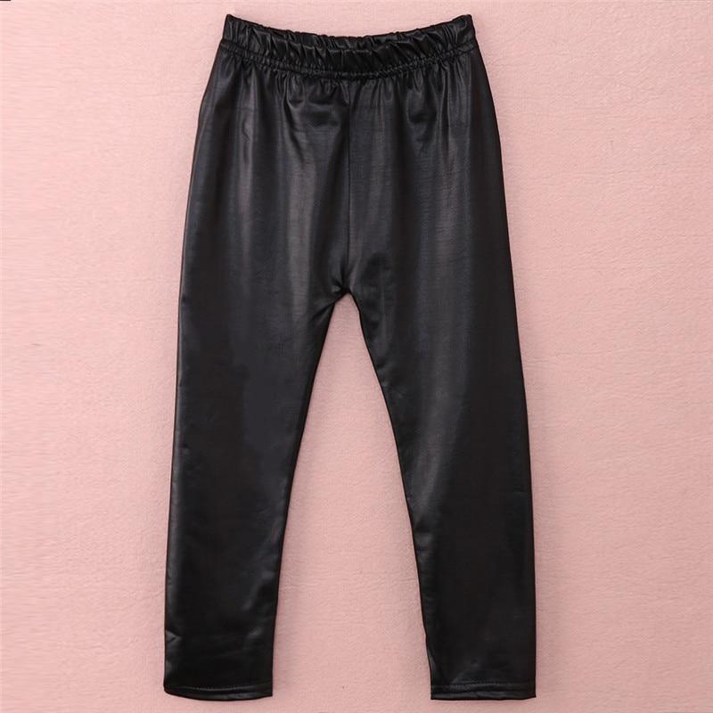 Emmababy High Quality Solid Black Baby Leggings Girl Long Pant Skinny Casual arrival Streetwear PU Elastic Waist