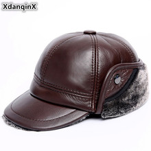 XdanqinX Winter Warm Velvet Thick Mens Genuine Leather Hat Cowhide Baseball Caps Earmuffs Hats Anti-cold For Men