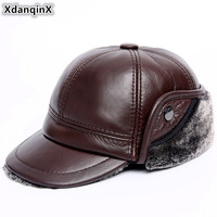 XdanqinX Winter Warm Velvet Thick Men's Genuine Leather Hat Cowhide Baseball Caps Earmuffs Hats Anti cold Winter Hats For Men