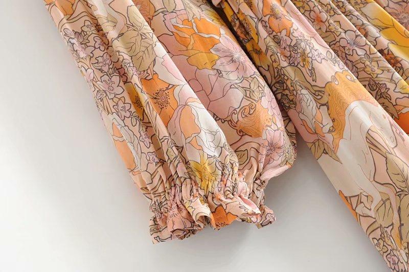 V-Neck Sasches Ruffles Floral Print Boho Dress 9