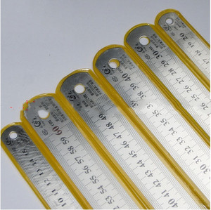 Image 2 - Steel ruler thicker  Drafting Supplies hardware tools ruler double faced for office and school kawaii