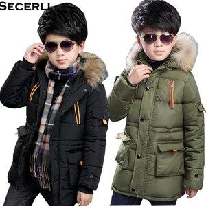 Image 1 - 4 ~ 15 세 어린이 소년 겨울 자켓 패션 디자인 소년 겨울 파카 면화 패딩 모피 후드 어린이 따뜻한 코트 겉옷