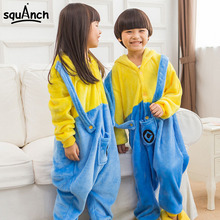Minions Onesie For Kids Cute Pajama Party Suit Flannel Warm Sleepwear Winter Festival Play Costume Fashion Funny Pyjama Boy Girl